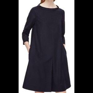 COS Navy Blue Standing Collar Wool Dress